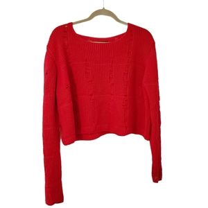Topshop Red Distressed Cropped Crewneck Sweater 12